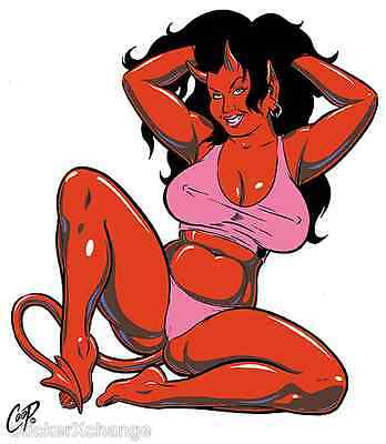 Panty Devil Girl STICKER Decal Poster Artist Coop CP46