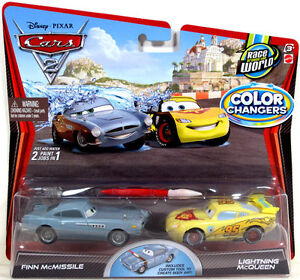 Disney Pixar Cars 2 Color Changers FINN McMISSILE and LIGHTNING McQUEEN NIP