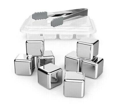 8x Edelstahl Eiswürfel Whisky Steine Ice Cube Kühlsteine mit Zange Silber BE