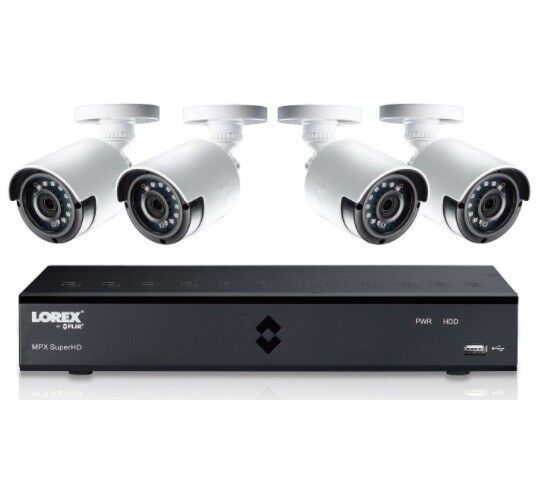 NEW Lorex 4-Channel Security 1TB HD DVR 4 x HD 1080p 4MP Cameras