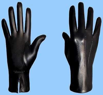 NEW MENS size 8 or Small BLACK SILK LINED GENUINE LAMBSKIN LEATHER DRESS GLOVES