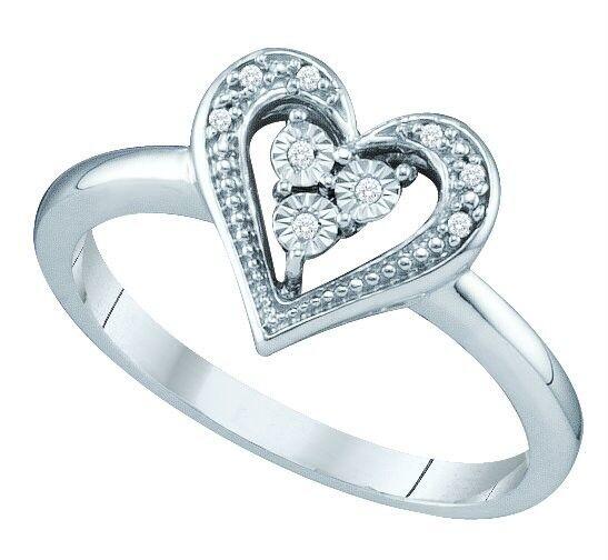 Great Price 100% 10k White Gold Heart Shaped Illusion Set Diamond Fashion Ring