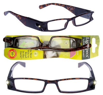 BY Foster Grant Light Specs Lighted Reading Glasses +2.00  Brown