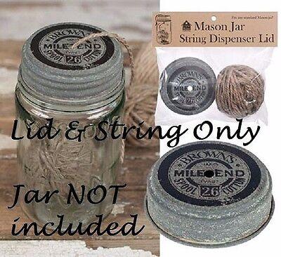 Mason Jar STRING DISPENSER LID w/ Twine Primitive Farmhouse Rustic Country