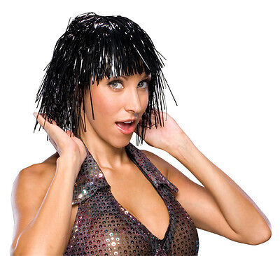 Black Tinsel Wig Rocker Hair Womens Adult Ladies Bright Metallic Costume Bangs - Female Rocker Costume