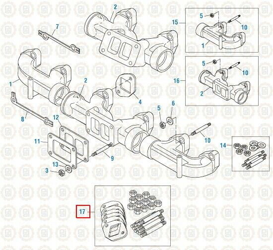 Exhaust Manifold Mounting Kit for Mack E7. PAI# 831016 Ref
