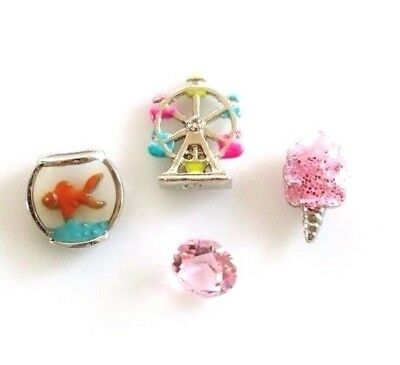 Authentic Origami Owl Ferris Wheel Cotton Candy Goldfish Charm Set htf Lot 28 - Candy Charm