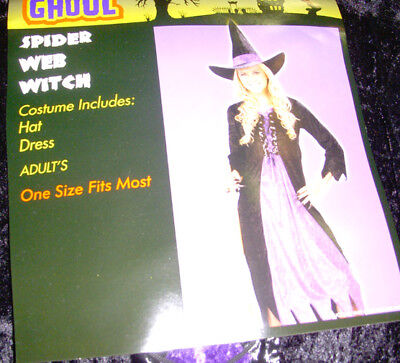 Purple Spider Witch Spider Web Witch Purple Black Dress Adult Costume OSFM NWT (Spider Web Witch Costume)