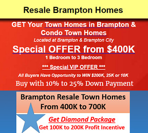 Resale Brampton Homes Buy with 10% to 25% Down Payment!
