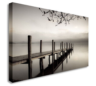 Smoky Pier Black And White Distance Wall Picture Prints Canvas Art (Black And White Canvas Wall Art Cheap)