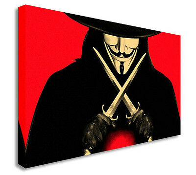 V is for Vendetta - Twin Knives - Mask Canvas Art Cheap Print - V Is For Vendetta Mask