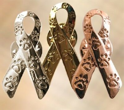 wareness Paw Print Ribbon Pin Pins Charity Dog Cat  (Paw Print Ribbon)