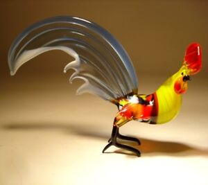 Blown-Glass-Murano-Animal-Art-Figurine-Bird-ROOSTER-Blue-with-White-Trim-Tail