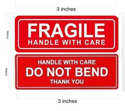 1 X 3 Fragile Sticker Do Not Bend Stickers Thank You Handle With Care - Qs
