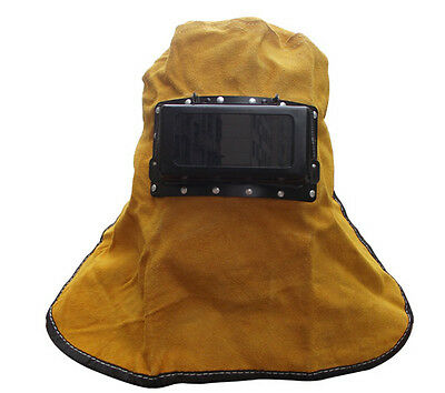 Leather Helmet Face Neck Protected Lens Glasses Welding Hood Helmet Mask Hood