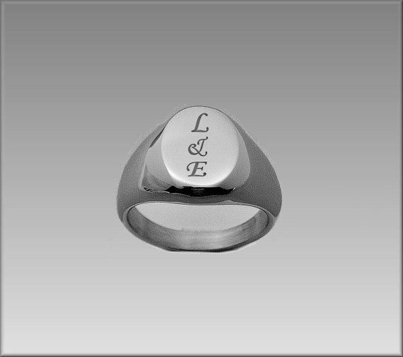 Custom Personalized Stainless Steel Signet Ring Initial Engraved Free Customized