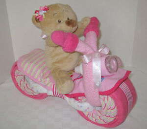 Baby shower nappy cake girls boys Motorbike/Bicycle gift new mum blanket unique