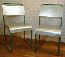 4 available metal stacking vintage chairs antique industrial restaurant retro seating wooden school