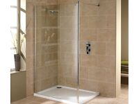 Wet room enclosure with tray