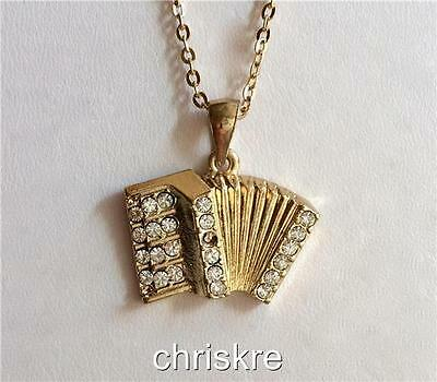 Gold Crystal Accordion Necklace Music Musical Instrument Teacher Gift Plated