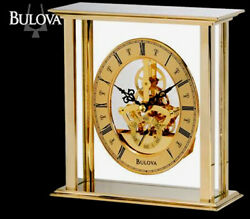 BULOVA - TABLE TOP MANTLE CLOCK  B1790 BRASS  FINISH SKELETON CLOCK B1790