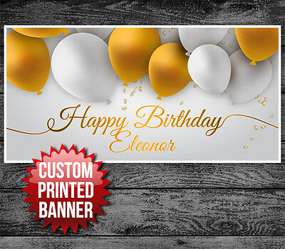 Gold and White Balloons Custom Birthday Banner Party Decoration Backdrop
