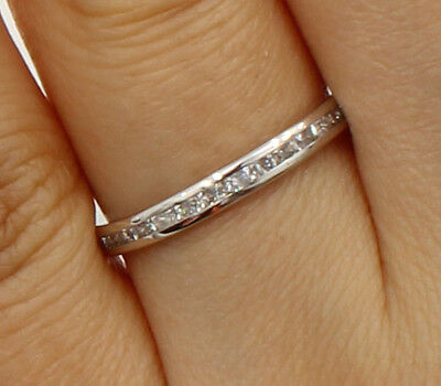 14K White Gold Round channel set Eternity Endless Anniversary Wedding Ring Band 14k White Gold Set