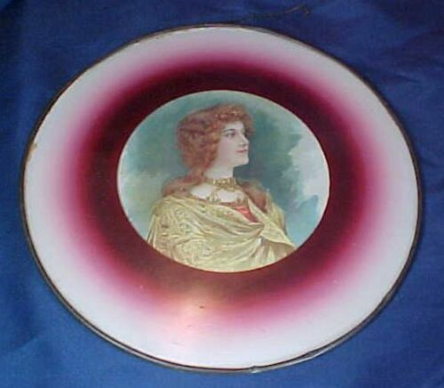 Antique Round Flue Cover Beautiful Lady Metal Frame Red Framing
