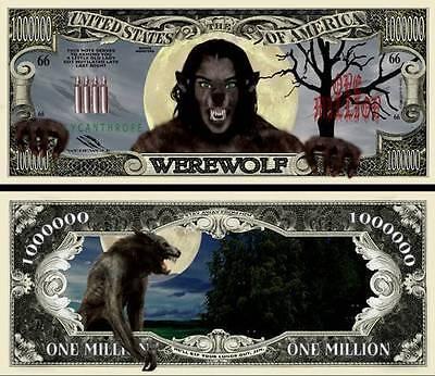 der Werwolf Geldschein MILLION DOLLAR US ! lycanthropy Halloween Monster Horror