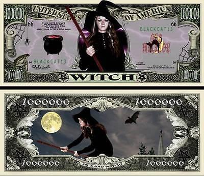 Die Hexe Geldschein Million Dollar US ! Witch Halloween Monster Horror Magic