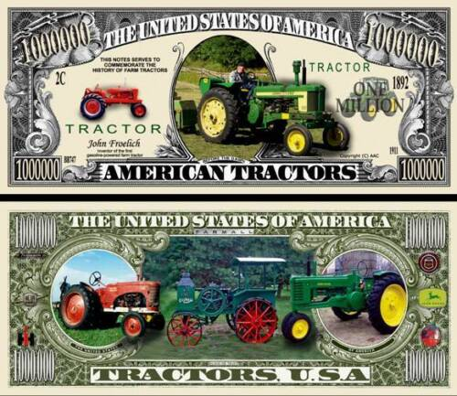 American Tractor Million Dollar Bill Fake Funny Money Novelty Note +FREE SLEEVE