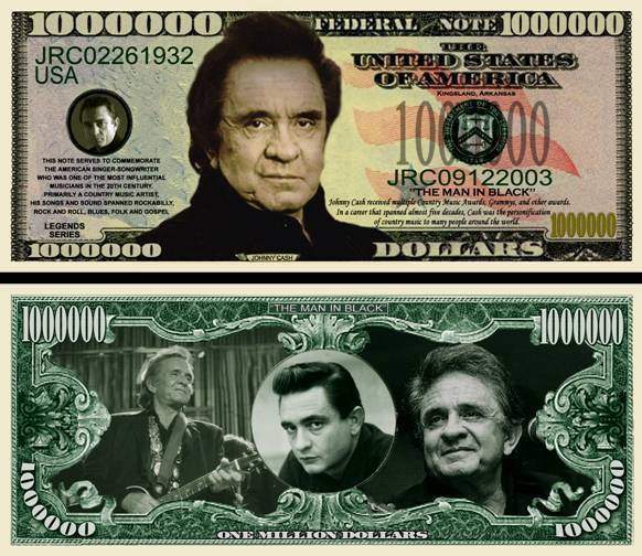 Johnny Cash Million Dollar Bill Fake Play Funny Money Novelty Note + FREE SLEEVE