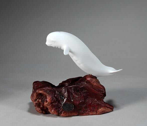BELUGA WHALE Statue New direct from JOHN PERRY 9in long Pellucida on Wood