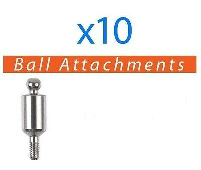 10 X Dental Titanium Ball Attachments For Implant - Fits Ab Mis Zimmer And More