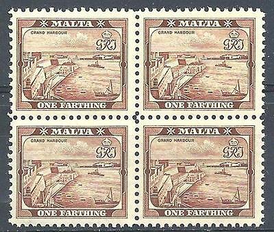 MALTA 1938 SC 191 VALLETTA HARBOR SHIPS BOATS BLOCK 4 MNH