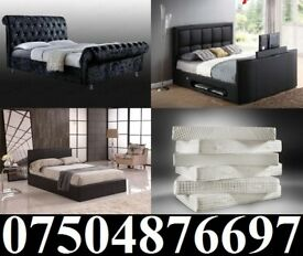 BRAND NEW DOUBLE LEATHER OR CRUSHED VELVET BEDS/MATTRESS + DELIVERY