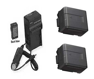 Two 2x Batteries + Charger For Panasonic Hdc-tm900k Hdc-t...