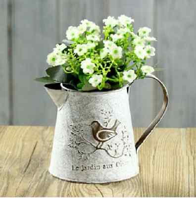 French Countryside Kitchen Decor White Metal Pitcher Shabby Chic Vase Distressed