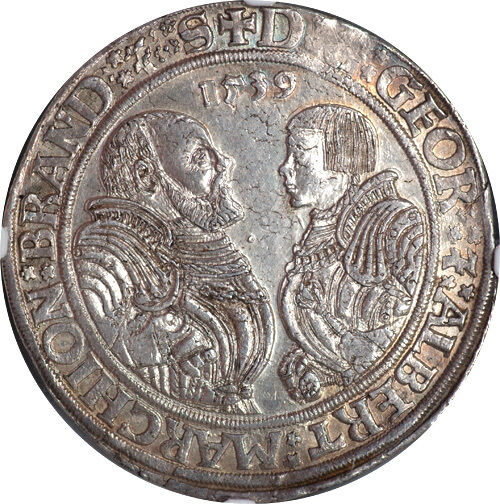 Germany Brandenburg-Franconia 1539 Georg & Albrecht II Thaler / Taler NGC MS-63
