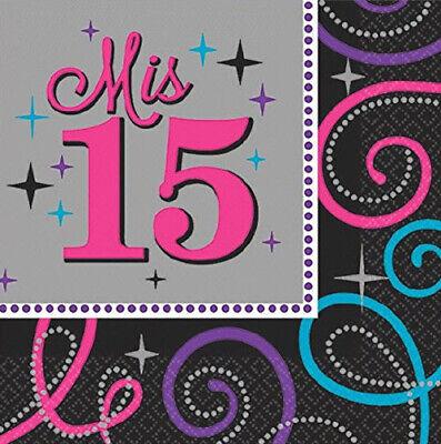 Mis Quince Quinceanera beverage PAPER NAPKINS Feliz Compleaños 15 party supplies