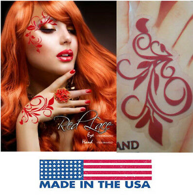 Red Floral Vine Easy Body Sticker Elf Poison Ivy Fairy Costume Halloween Makeup