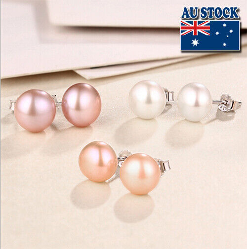 Jewellery - Genuine Non Allergic 925 Sterling Silver 5-9mm Natural Shell Pearl Stud Earrings