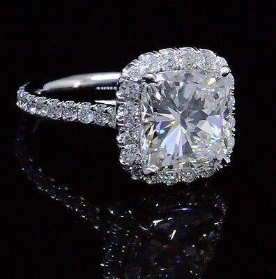 Platinum 4.18 Ct Cushion Cut Diamond Round Pave Engagement Ring  H VS1 GIA