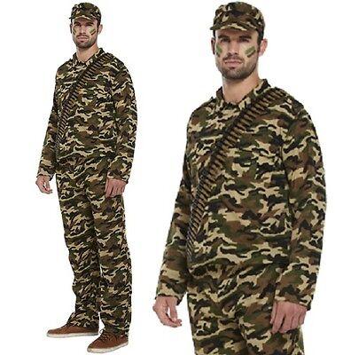 Erwachsene Herren Armee Soldat Maskenkostüm Militär Tarn Anzug Neu H