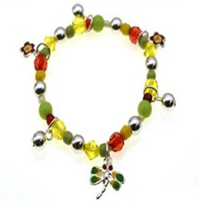 Childrens Multi-Colored Beaded Stretch Bracelet With Dragonfly Charm