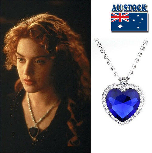 Jewellery - Hot Film Titanic Heart Of The Ocean Silver Tone Blue Crystal Pendant Necklace