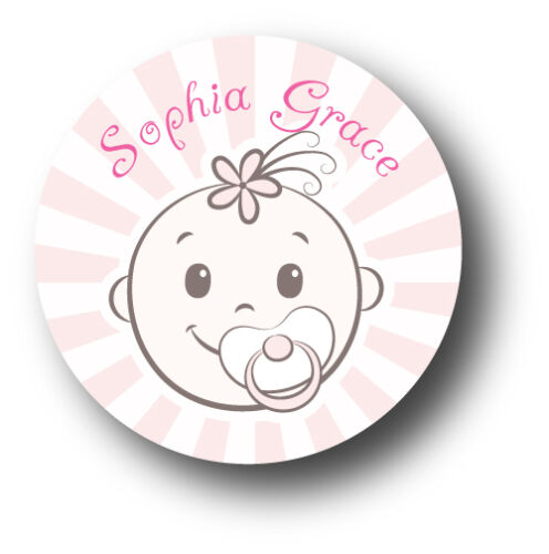 30 Baby Girl Personalized Baby Shower Favor White Stickers