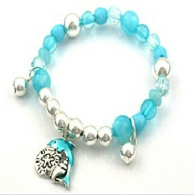 Childrens Blue and Silver Toned Beaded Stretch Bracelet With Dolphin Charms