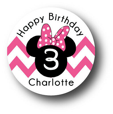 30 Minnie Mouse Happy Birthday Party Invitation Stickers - Personalized name