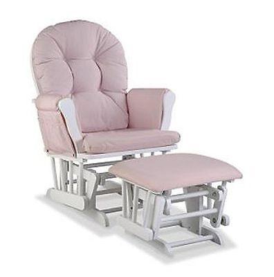 Glider Rocking Chair Ottoman - Baby Rocker Glider Nursery Rocking Chair and Nursing Ottoman Stool Pink White